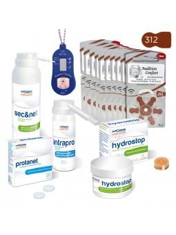 pack produits de nettoyage pour embout auriculaire pour appareil auditif et piles 312