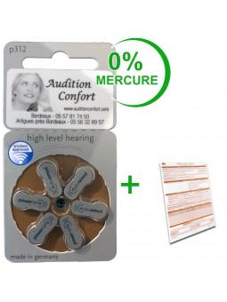 piles pour appareils auditifs 312 powerone
